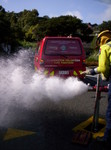 QFF Peter Smith testing a hydrant on Motuhara Road