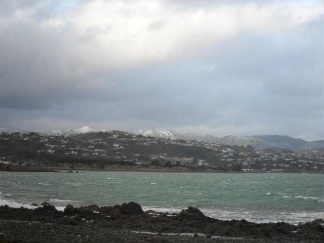 Snow above Whitby as seen from Plimmerton Fire Station