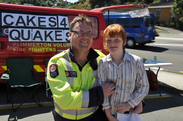 Theo and Tony Sutorius at Theo's bake sale-$441 raised for the UFBA Benevolent Fund supporting firefighters and their families affected by the CHC earthquake. Inspired and organized by Theo on the weekend after the CHC quake.