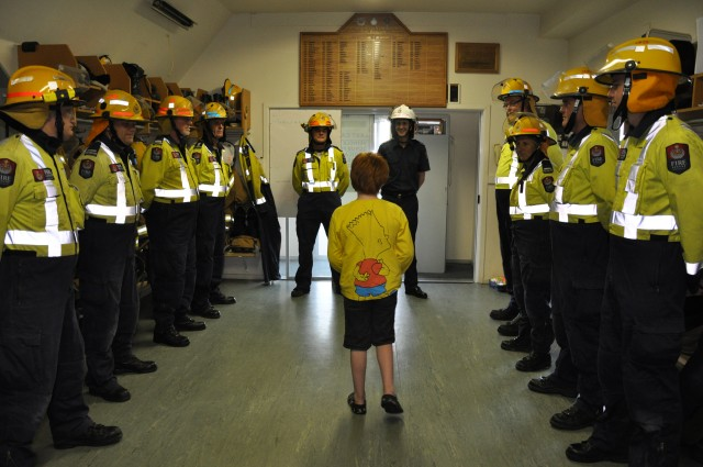 Brigade on Parade as Theo hands over the funds raised