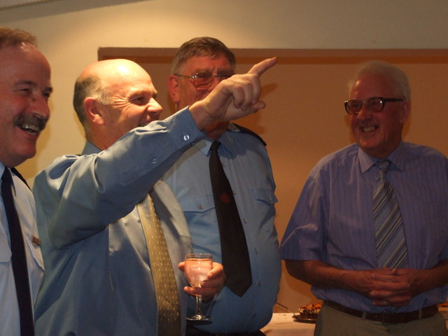 Ron Casey leads the Gold Star Chorus singing happy birthday to former CFO Keith Askew (79 years)