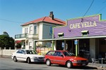 Cafe Vella and the landmark Vella homestead next door - one of the first major residences in Plimmerton.