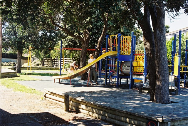 A popular playground opposite the fire station. The jungle gym is often used for night-time breathing apparatus training.