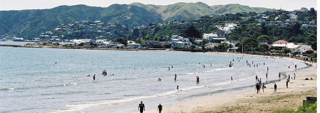 Plimmerton Beach from State Highway 1 which divides the fire district in half. The fire station is at the far end of the beach (left of photo).