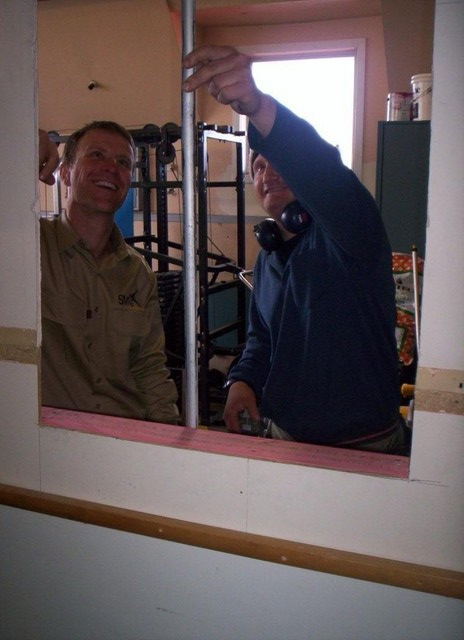 Ben and Fenn building a new communications cabinet